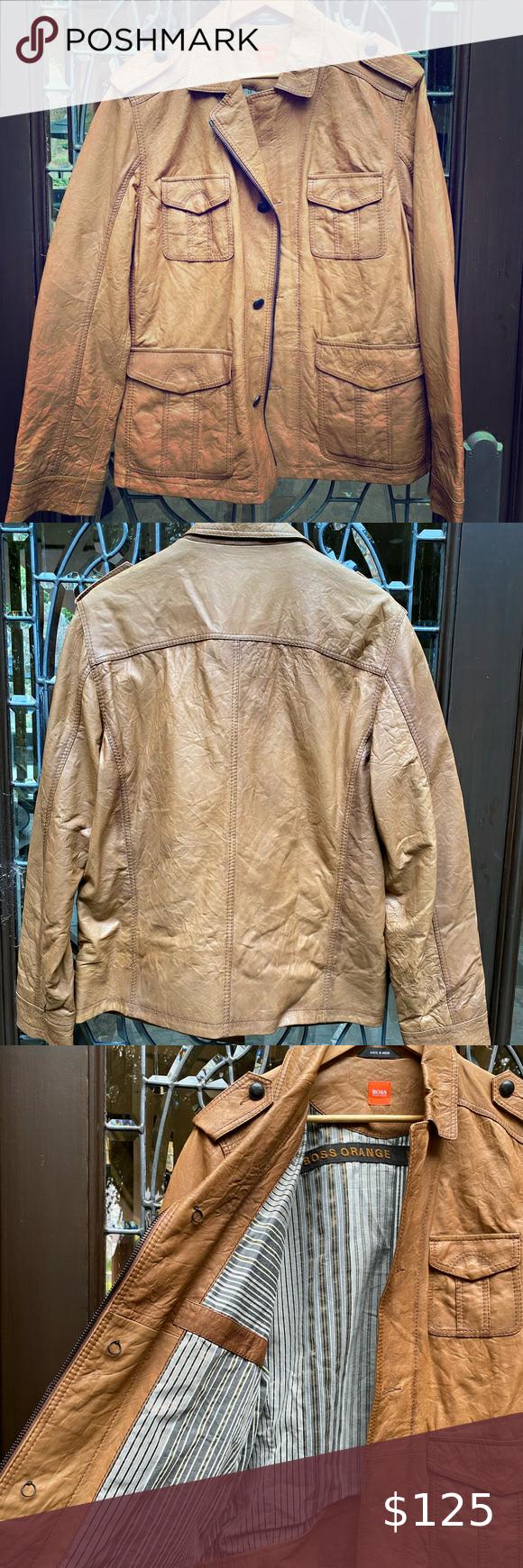 Hugo Boss Orange Line never worn leather jacket Perfect