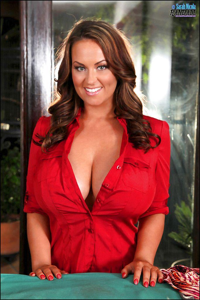 Sarah nicola randall big boobs ironing red button down