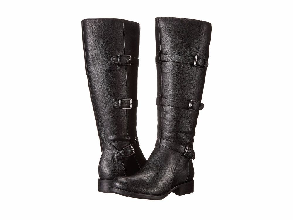 e097bc309d3c Franco Sarto Womens L Petite Wide Calf Black Motorcycle Boots Shoes 6 Med  (B