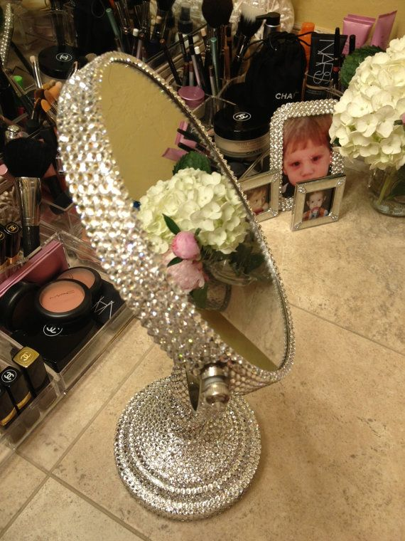 Bling Swarovski Rhinestone Makeup Mirror Was Commissioned Contact At Sparklecouturebychloe Com To Get Yours Xo Diy Mirror Bling Bedroom Makeup Mirror Diy