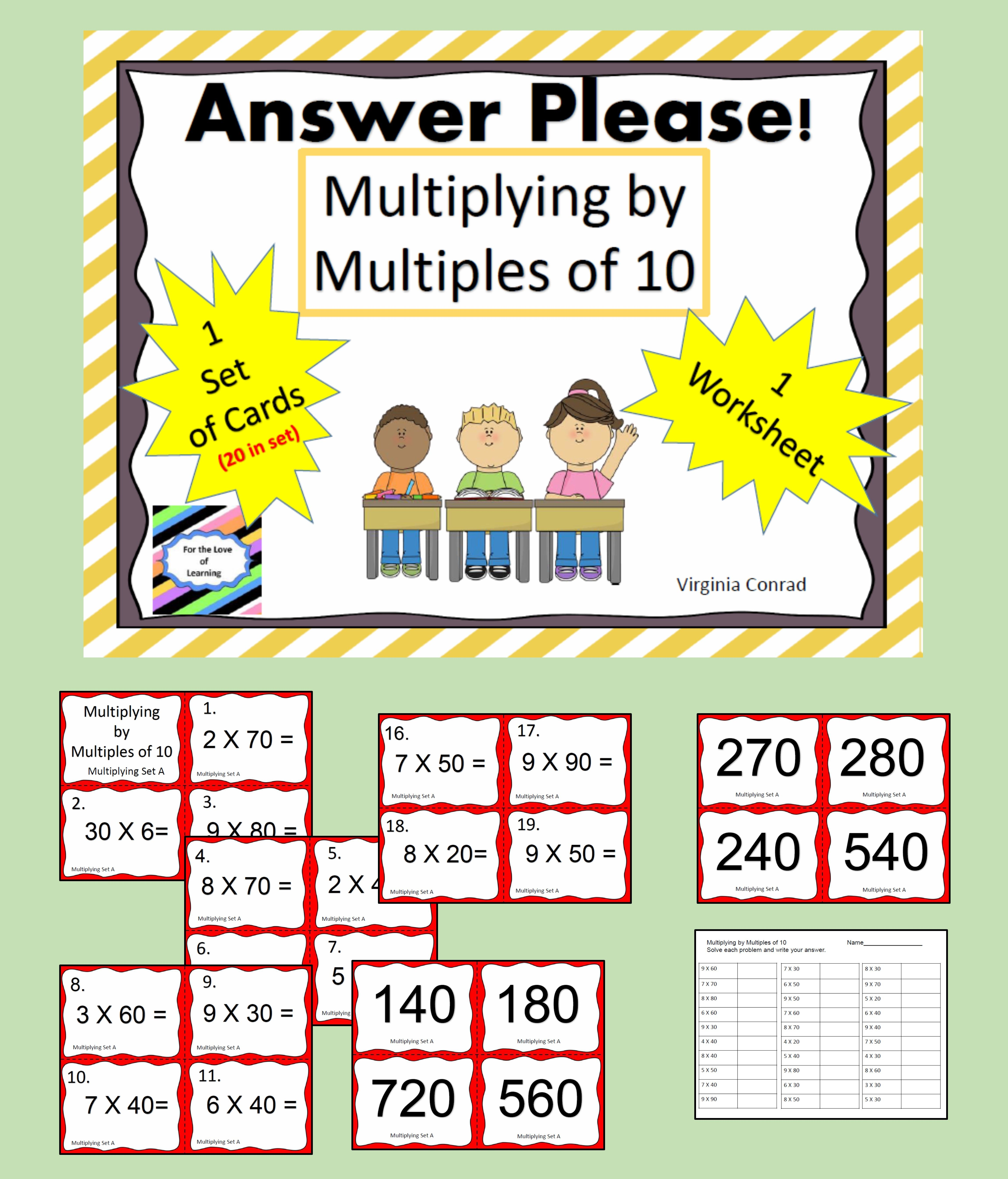 Multiply By Multiples Of 10 Task Cards And More With
