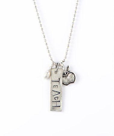 Look at this #zulilyfind! Silver 'Teach' Charm Pendant Necklace by Jennifer Dahl Designs #zulilyfinds
