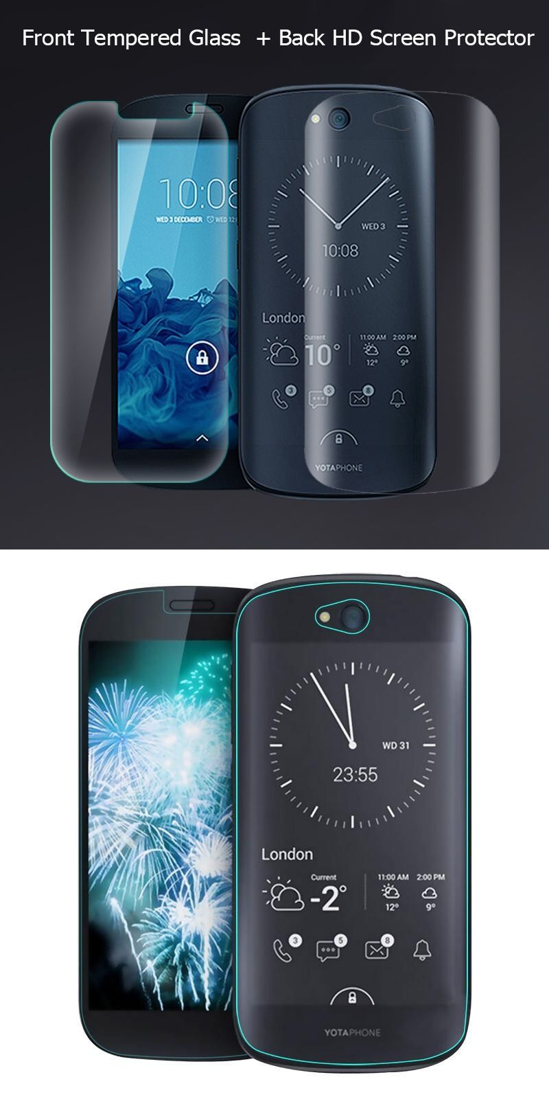 2pcs For Yotaphone 2 Case Front Tempered Glass Screen Protector Protection Asus Zenfone 55 Back Hd Clear Film