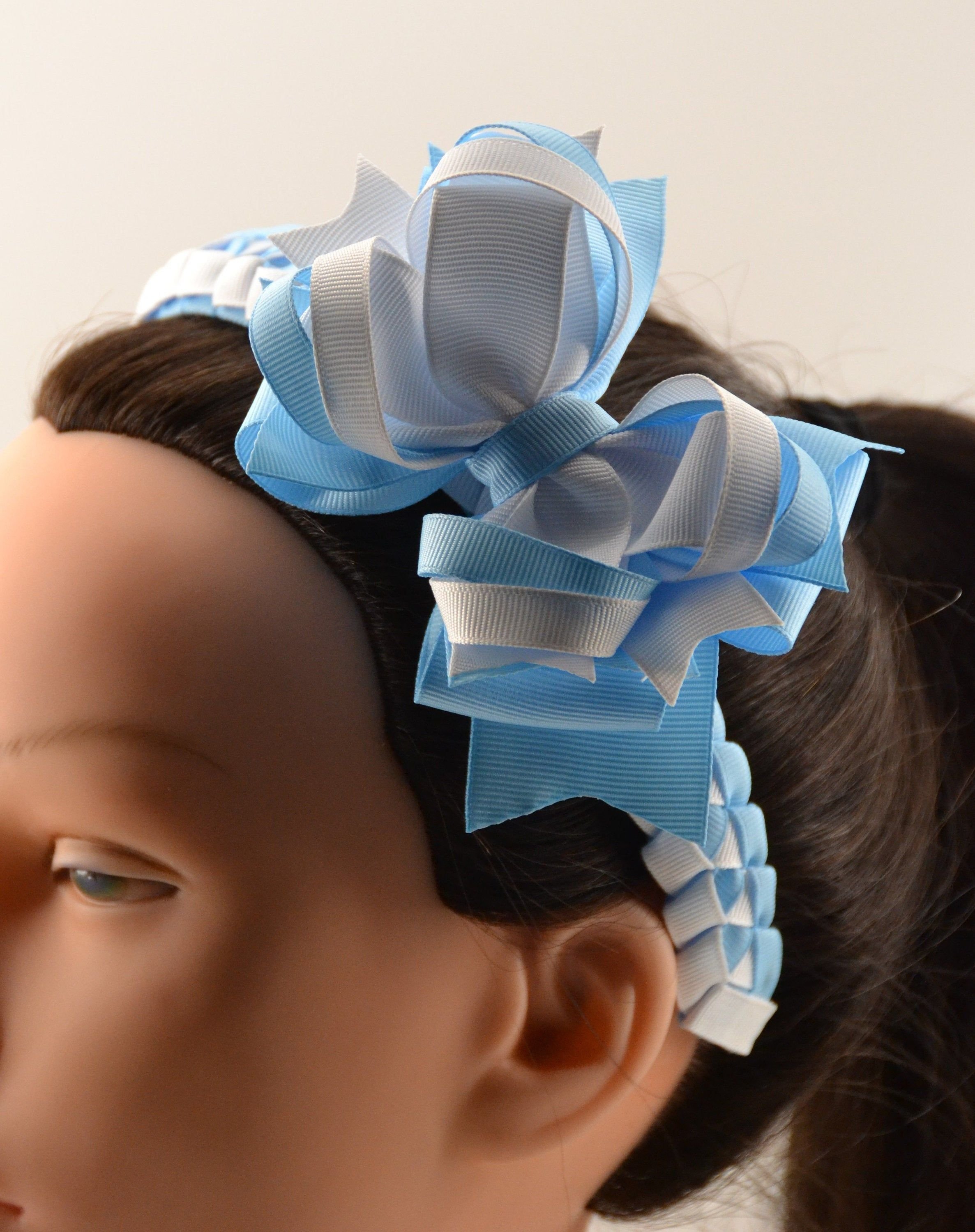 Light Blue and White Hair Bow or Headband