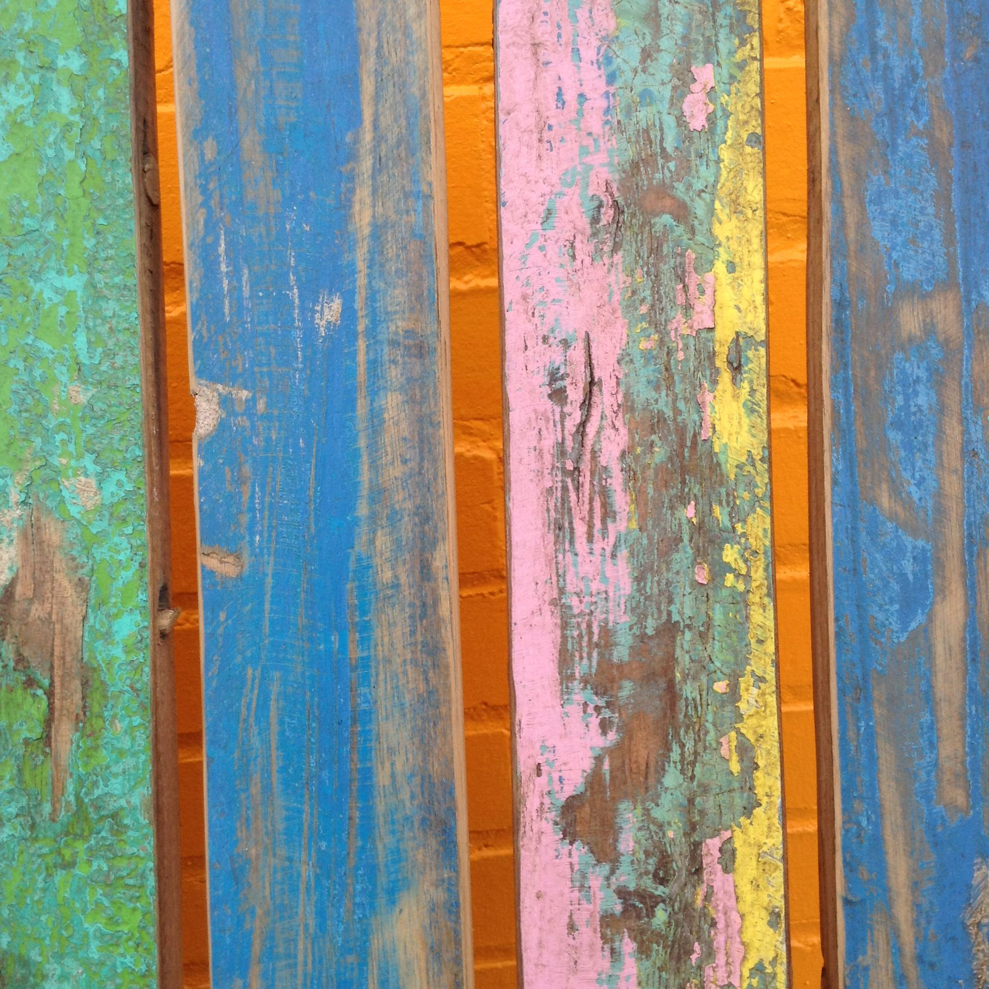 Bench detail at the paintbox at pink dog creative river