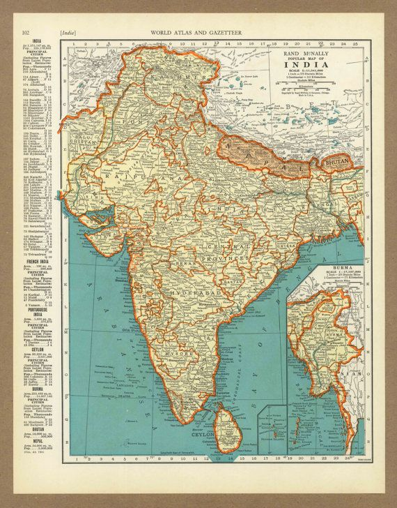 Vintage map of india from 1936 antique 1930s placesintimemaps on vintage map of india from 1936 antique 1930s placesintimemaps on etsy before indias independence and before pakistan became a nation gumiabroncs