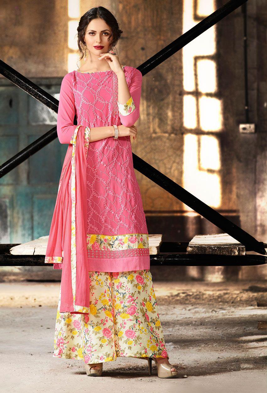 5aff2660f783 #Peach #Georgette #Palazzo #Suit #nikvik #usa #designer #australia #canada  #freeshipping #dress #suits #pakistani