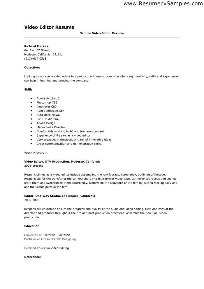 Production Editor Resume Resume Format Video Editor  Pinterest  Resume Format And Resume .