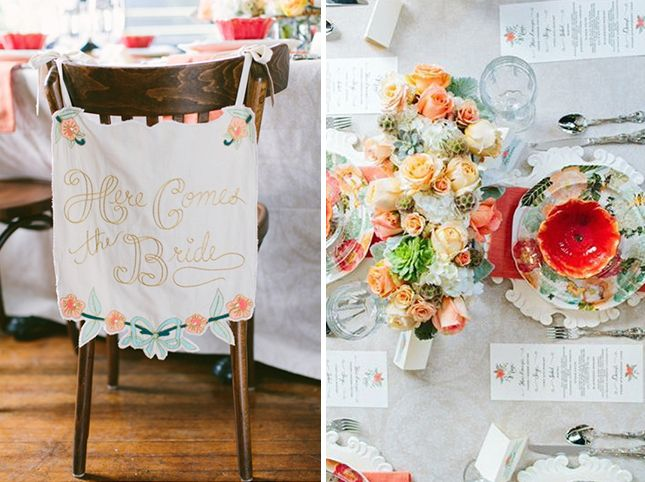 Peach + Mint: You don't need an actual theme to have a drop dead gorgeous wedding shower. Take this peach and mint color story, for example. And that flower centerpiece is sooo lovely.