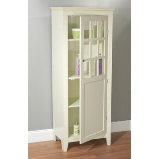 White Brown Wooden Tall Bathroom Cabinet With Shelves Bottles Grey Wall Floor