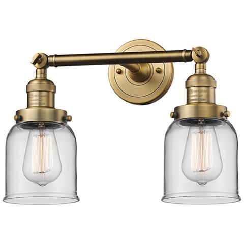 "Photo of Small bell 10 ""H brushed brass 2-light adjustable wall lamp – # 40X01 