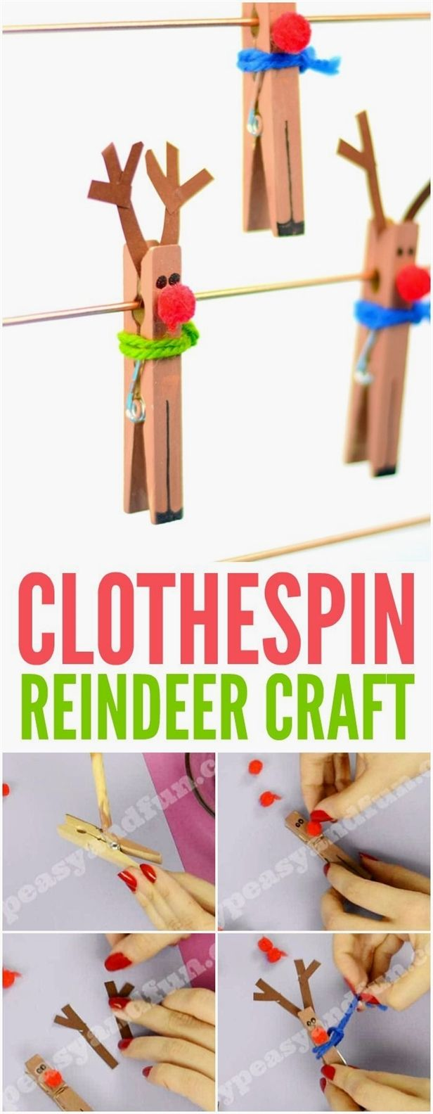 Clothespin Reindeer Craft for Kids. Super fun and simple Christmas craft idea for kids to make. #ChristmasCraftsForKids