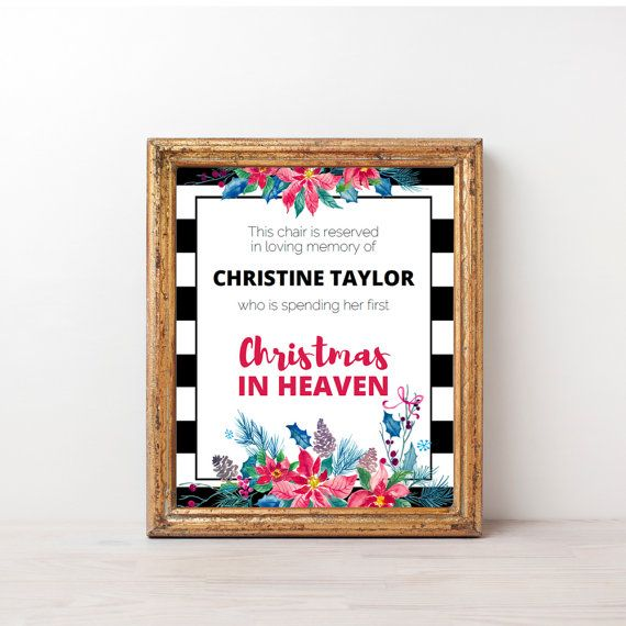 Printable First Christmas In Heaven Poem Sign With Red