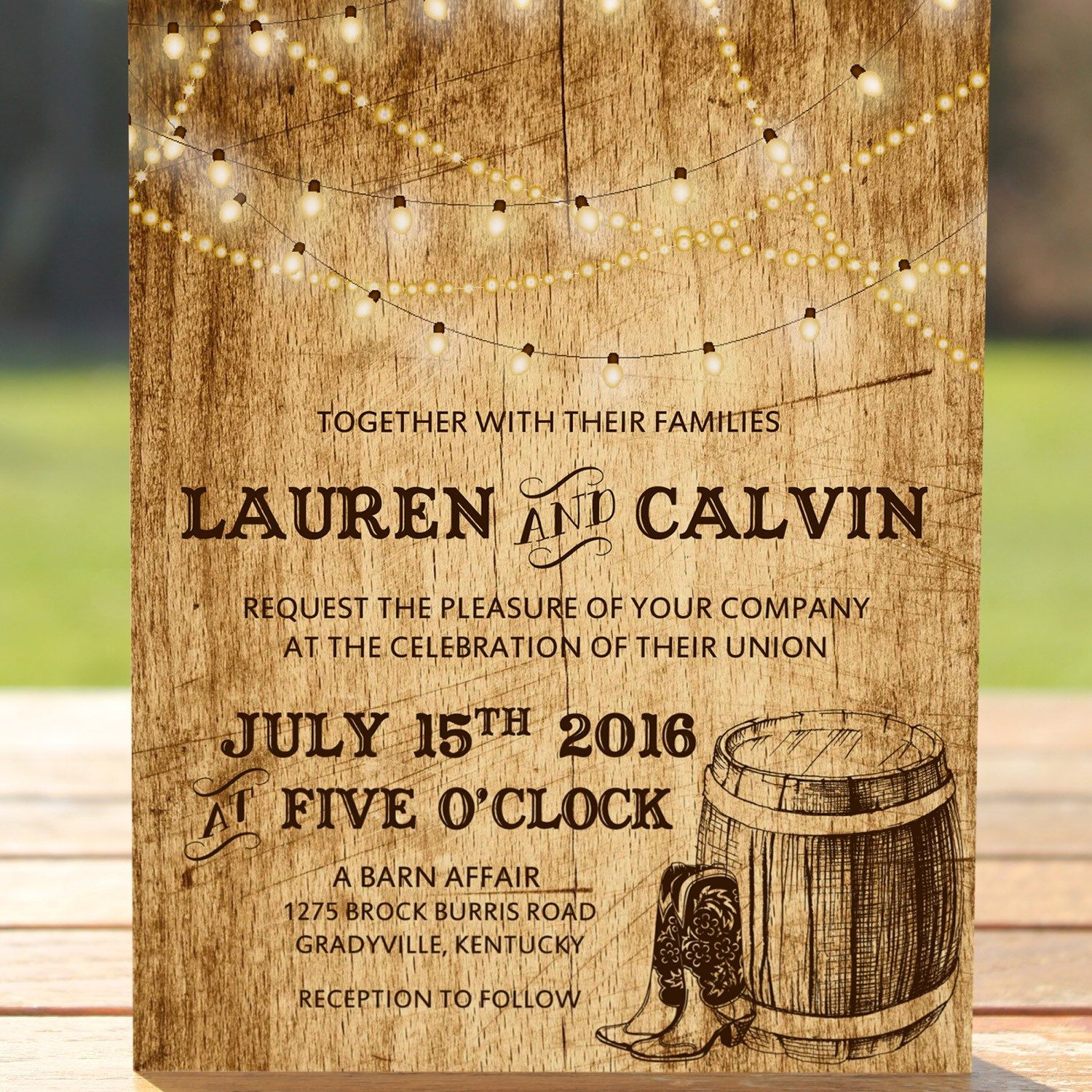 Country Wedding Invitation Wording: Country Wedding Invitation With Lights, Cowboy Boots, And