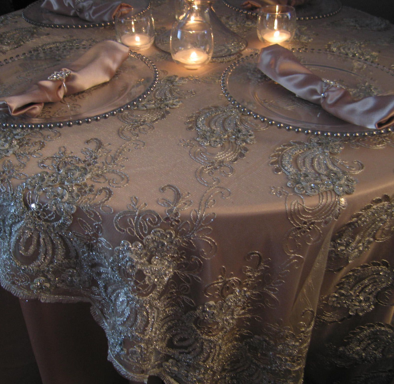Champagne Tablecloth With Ivory Lace Overlay Fabulous