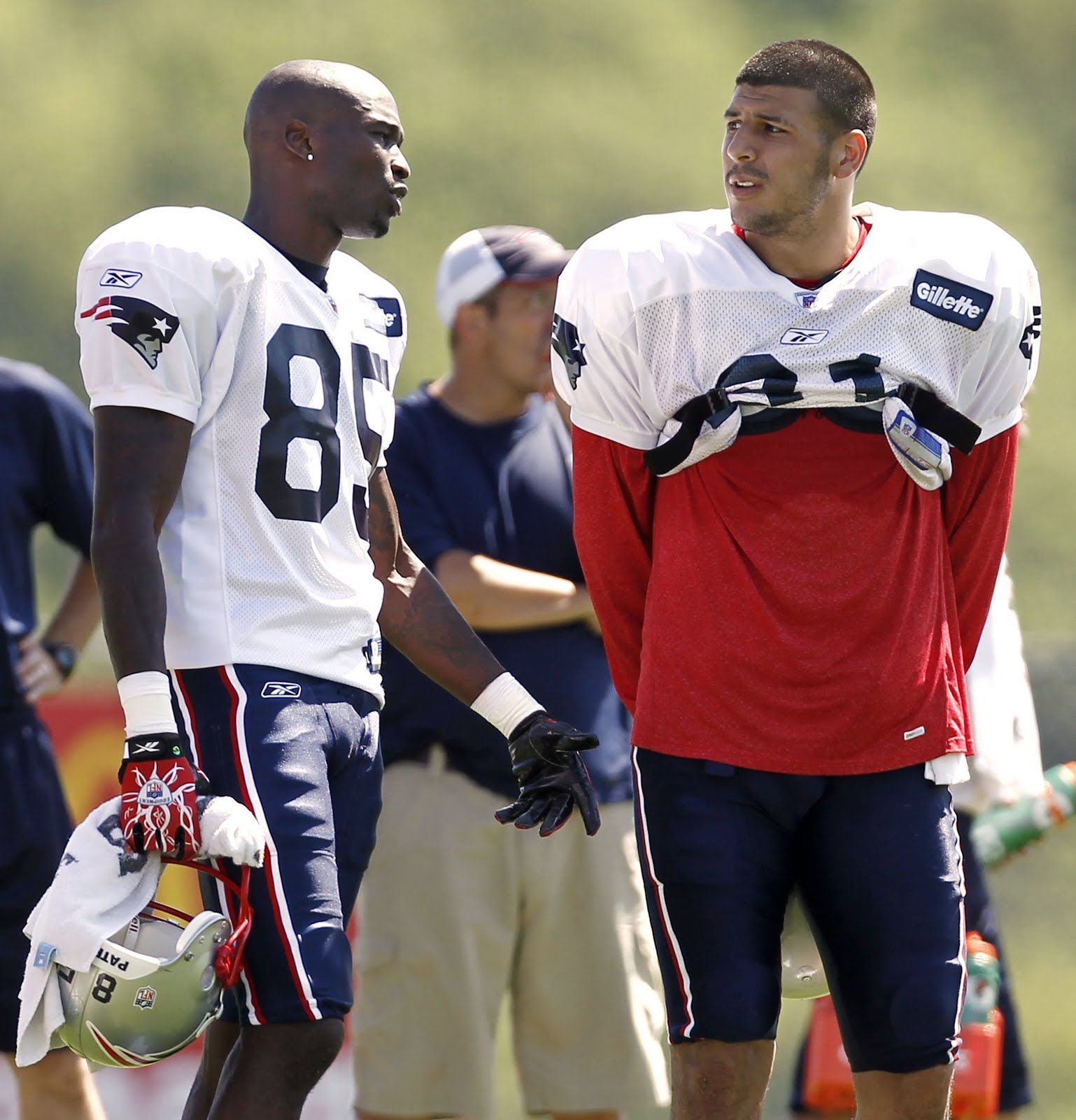 Aaron hernandez was cut by the new england patriots after he was - Aaron Hernandez Gives Up No 85 To Chad Ochocinco Becomes No
