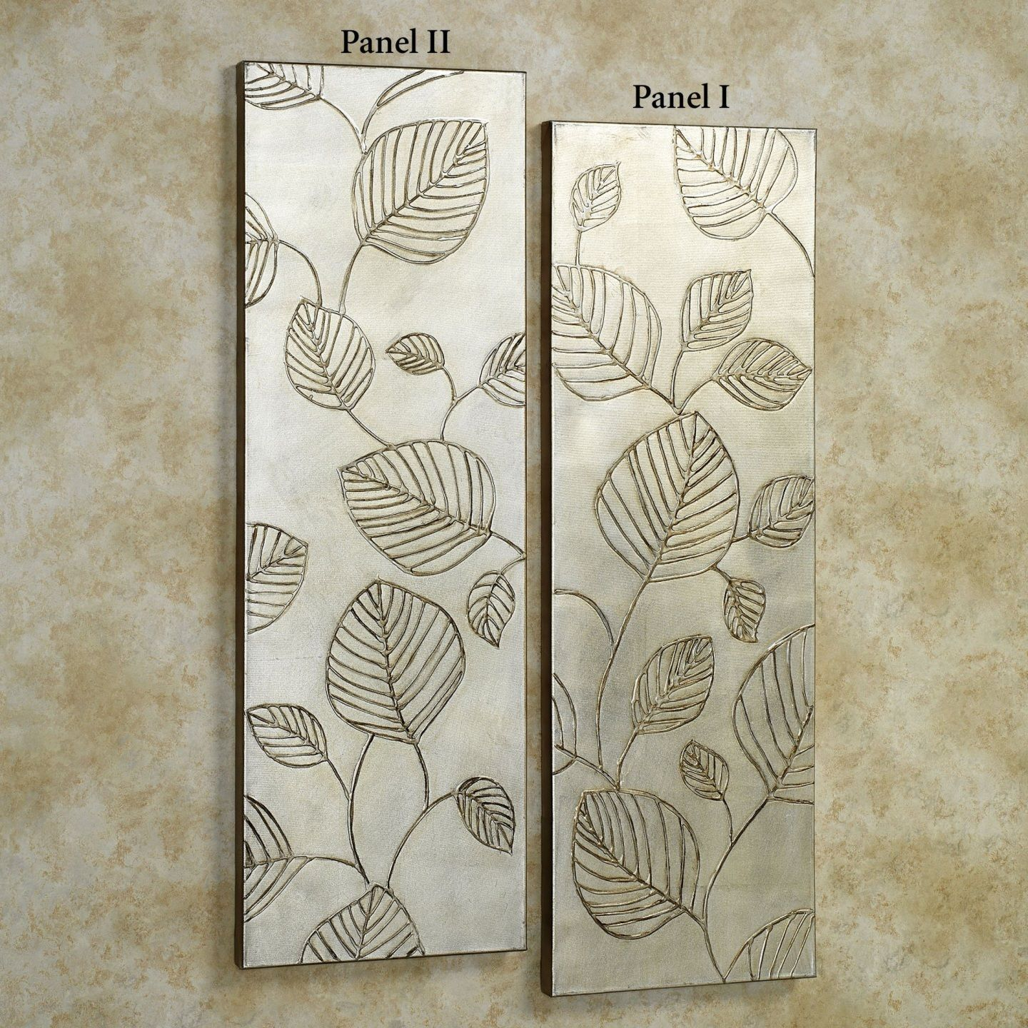 Interior Decoration Beautiful Silver Leaves Canvas Wall Panel