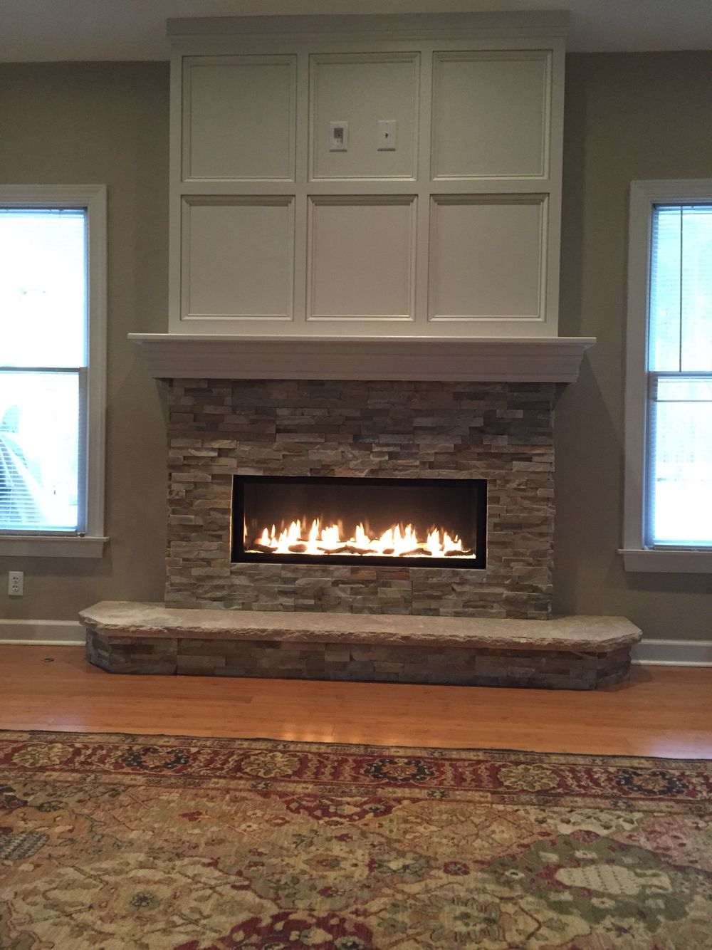 Linear fireplace with tv above | Fireplace in 2018 ...