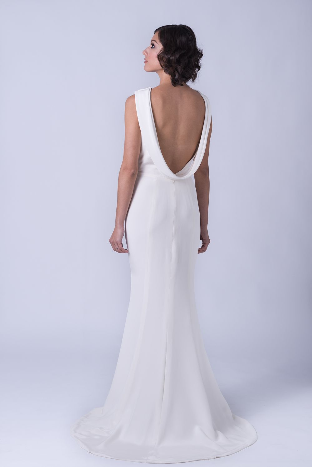 Expertly sculpted of fine silk crepe, Katharine\'s bateau neckline is ...