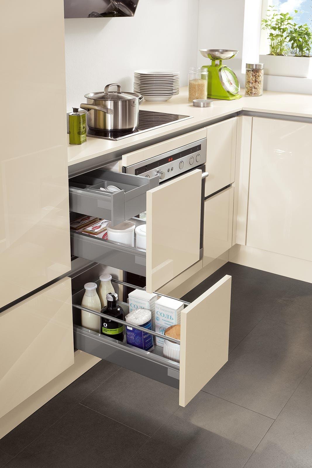unterschrank einbauküche hochglanz creme norina 4312 | küche ...