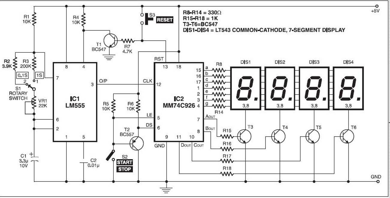 Digital Stopwatch With 7-segment Schematic - schematic