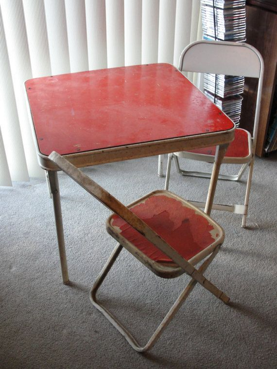 Vintage Child Size Folding Table And Two Chairs Small By Marci922, $18.00