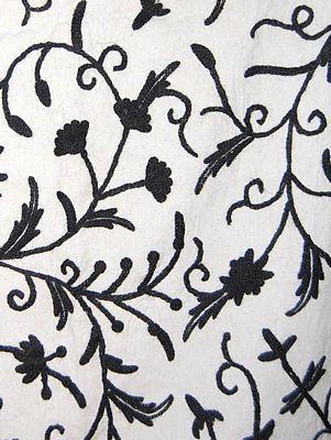 Cotton Crewel Embroidered Fabric Jacobean Black On White Tml501