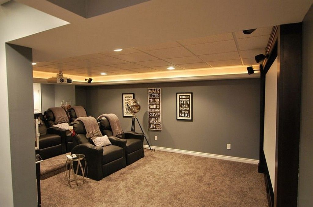 Interior Black Comfort Theatre Sea With Grey Blanket And White Cushions Under Yellow Recessed Lights On Tray Ceiling Plus Gray Wall Color Stylish Dynamic