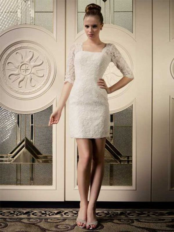 Perfect images of short white dresses for wedding Beautiful Simple Short Wedding Dresses with Sleeves