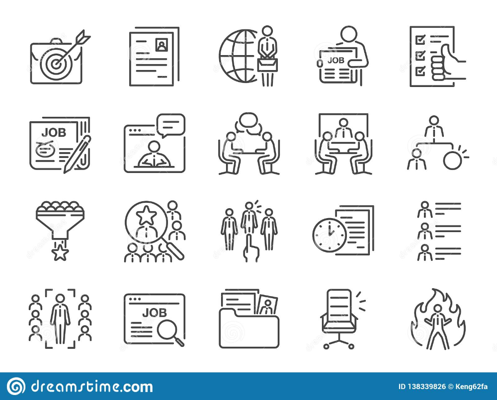 Jobs Line Icon Set Included Icons As Career Seeking Job Employment Recruit Recruitment And More Stock Vector Ill Line Icon Icon Set Vector Illustration