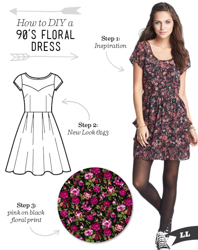 Lula Louise: DIY Outfit - 90\'s Inspired Floral Dress | vestidos ...
