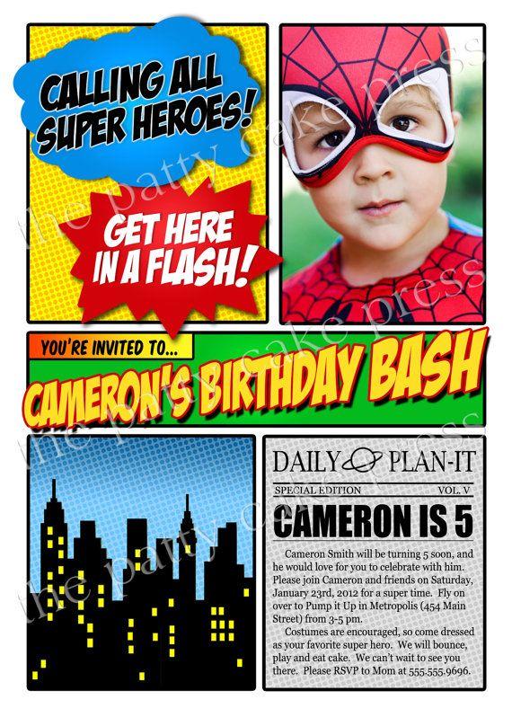 Superhero Invitation Birthday Party Custom Photo Printable Digital