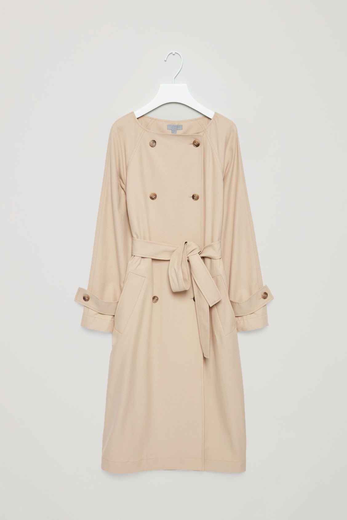 Cos green dress 2018  Front image of Cos belted trench in beige  Cos Favourites