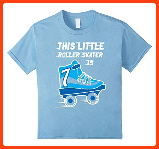 Kids 7th Birthday Boys RollerSkate T Shirt Skate 7 Year Old 6 Baby Blue Partner Link