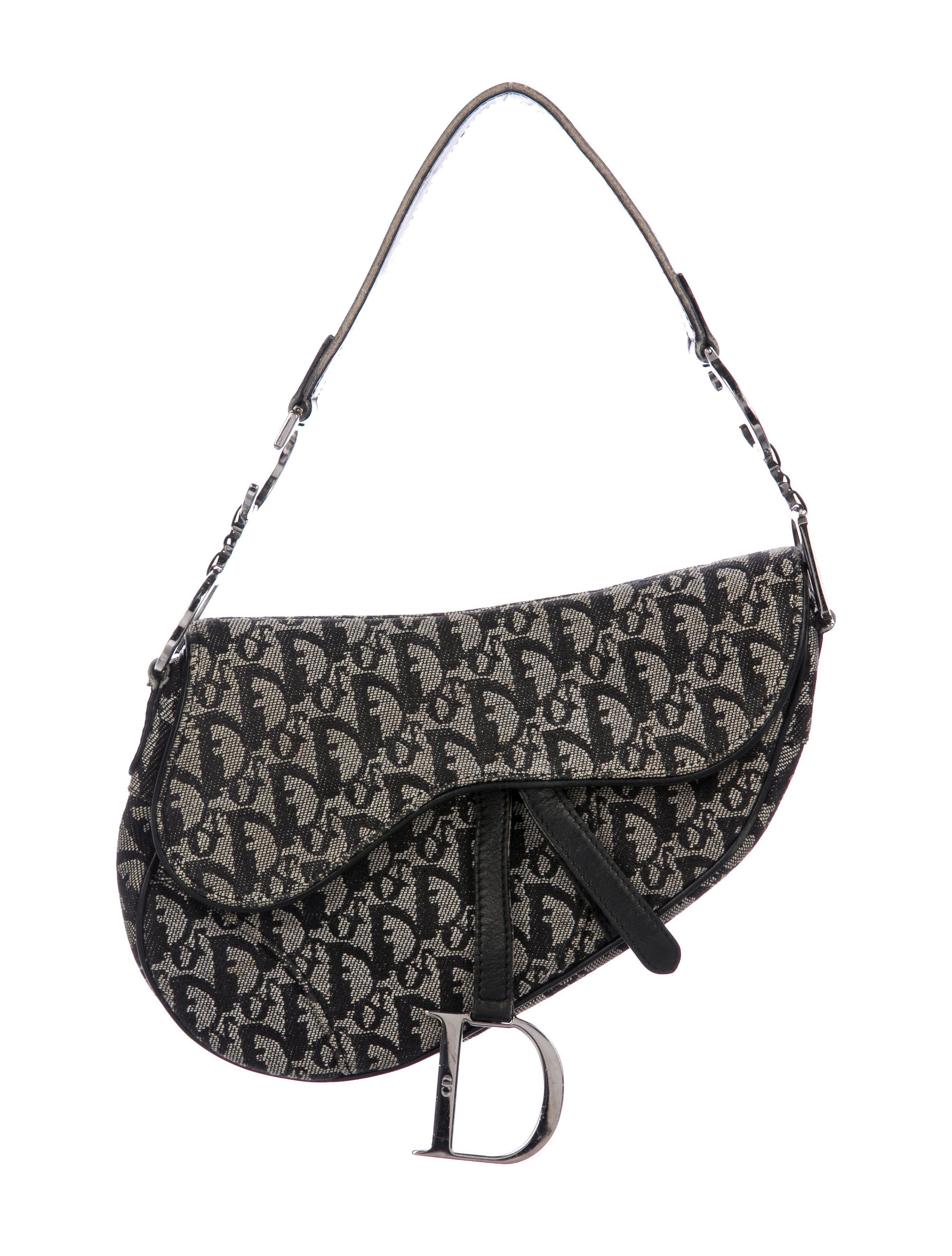 64d8c1c0502e Black and creme Diorissimo canvas Christian Dior Saddle Bag with  silver-tone hardware