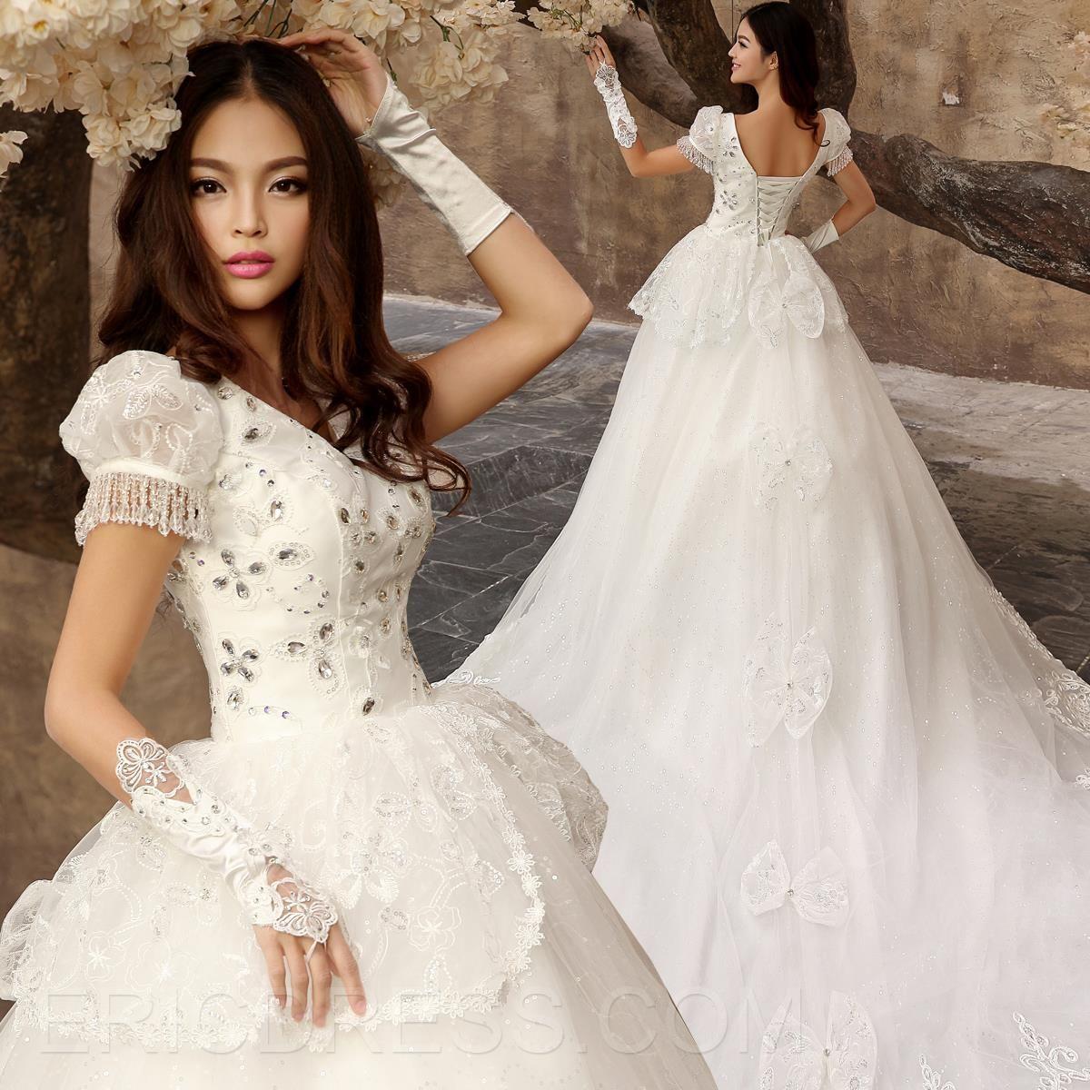 Vintage vneck short sleeves beading princess wedding dress