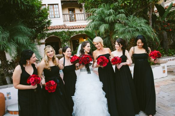 Black Bridesmaid Dresses Highlighted By Red Rose Bouquet Photo By
