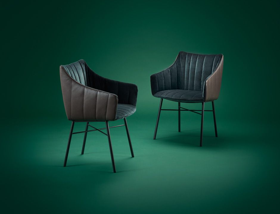 Rubie mit Stahlgestell Freifrau Sitzmöbelmanufaktur ED - esszimmer stuhle mobel design italien