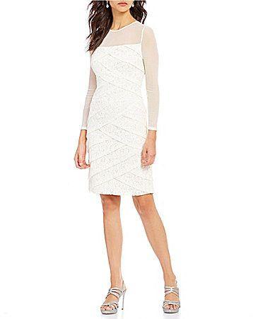 1dee96ec47e1 Adrianna Papell Crew Neck Long Sleeve Tiered Lace Sheath Dress at Dillard's  #affiliatelink