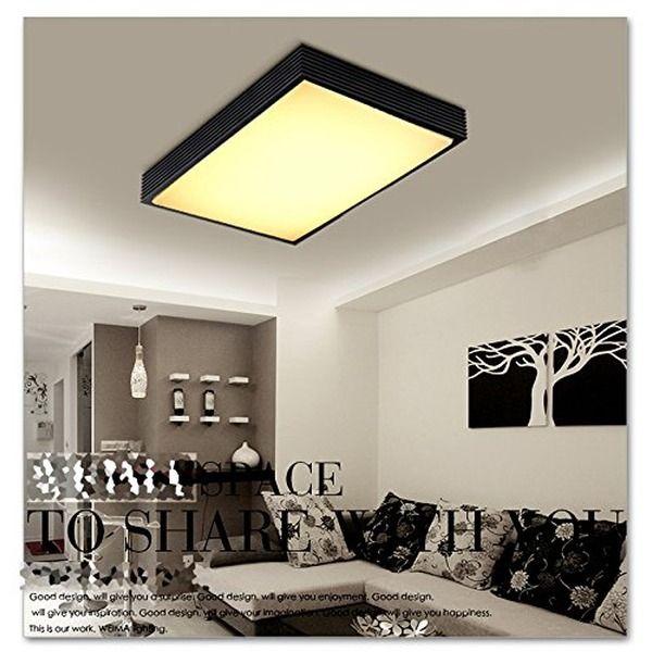 Natsen® 90W LED Deckenleuchte Rechteck Deckenlampe Modern Wandlampe Schwarz  Voll Dimmbar Fernbedienung X8358H