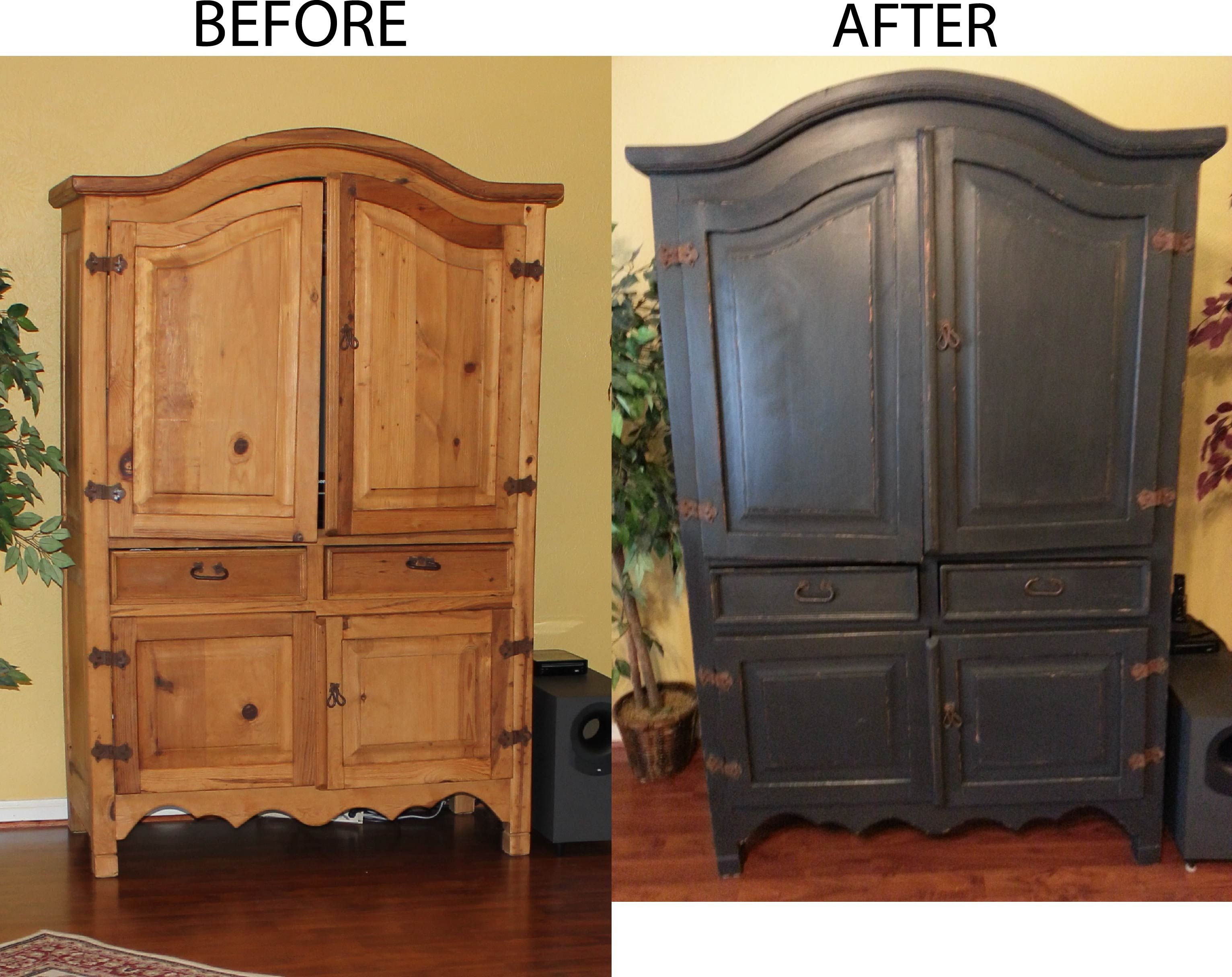 Superbe Updated Old Rustic Pine Armoire With Black Paint, Distressing U0026 Wax
