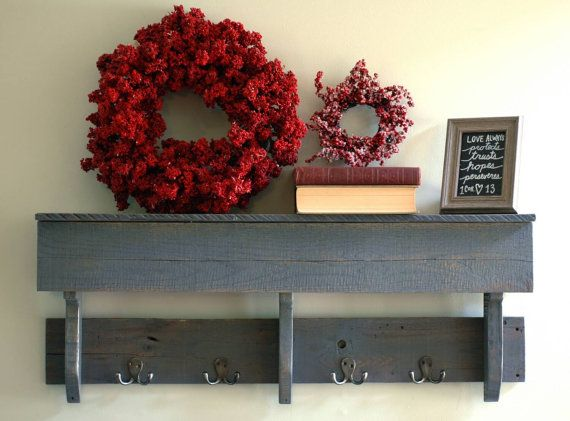 Reclaimed Wood Hook Shelf With Hooks Gray Rustic Shelving Wall Pallet