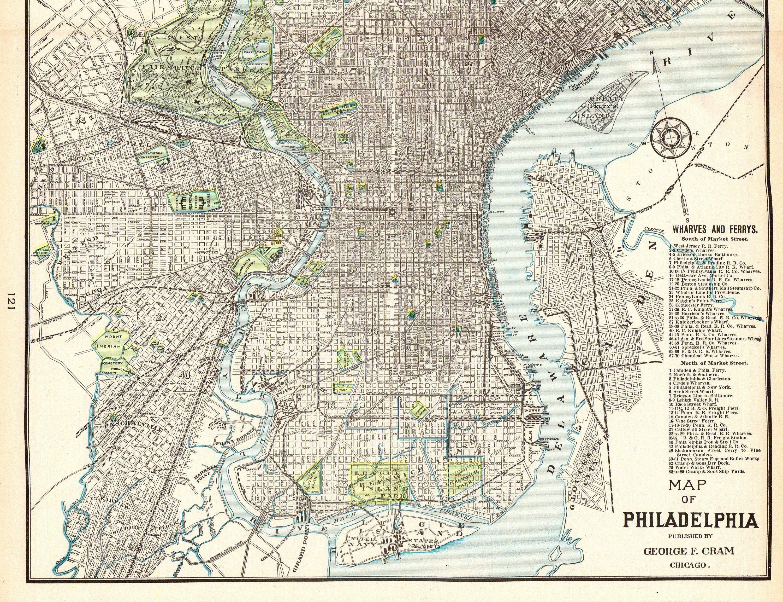 1908 Antique PHILADELPHIA Street Map of PHILADELPHIA City ...