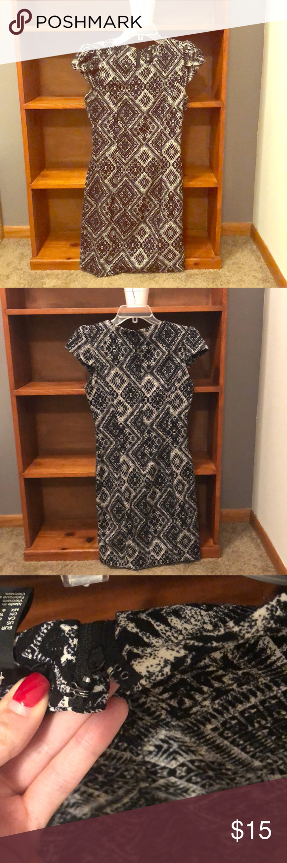 H&M Patterned Dress Just above the knee, patterned dress, very dark blue and cream pattern, slight patted sleeve, full zipper in the back, and very lightly worn. Perfect for a young professional or just someone looking to mix up their work wardrobe. Could also be good for homecomings, weddings and other business casual events. H&M Dresses Mini #businesscasualoutfitsyoungprofessional