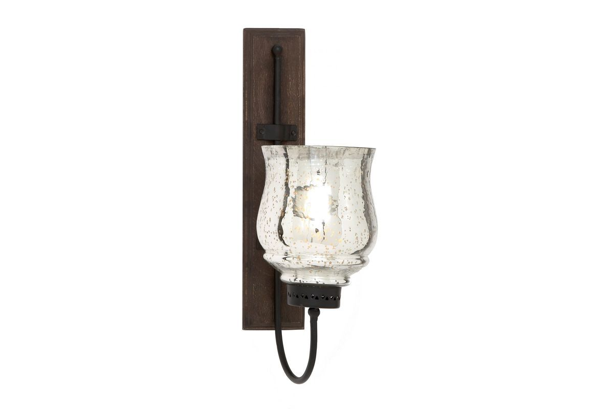 Updated traditional wrought iron u flared top hurricane wall sconce