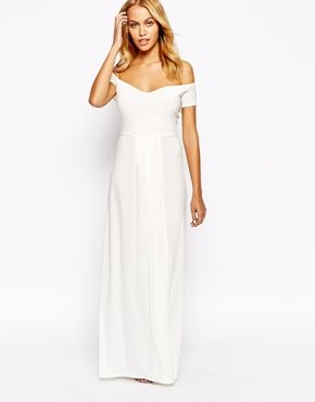 13cc00acb02f Love Off Shoulder Slinky Maxi Dress With Thigh Split Simple White Dress,  Little White Dresses