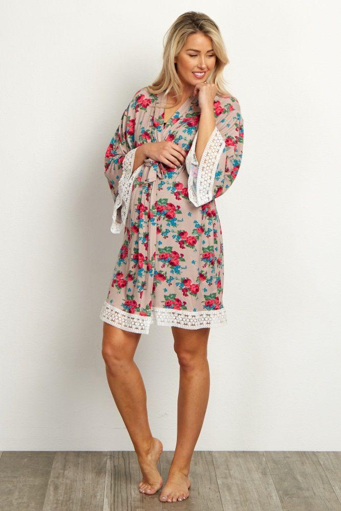 376941d1bbd Mocha Floral Lace Trim Delivery Nursing Maternity Robe