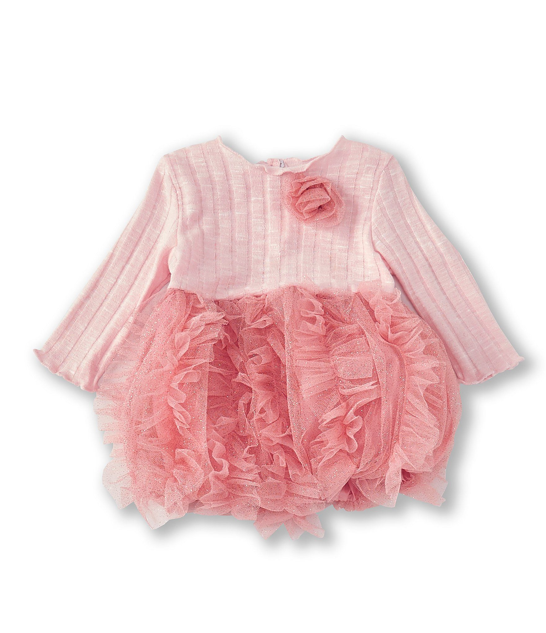 Photo of Sweet Heart Rose Baby Girls Newborn-24 Months Rib-KnitPatterned Bubble Dress – Blush 0/3 Months