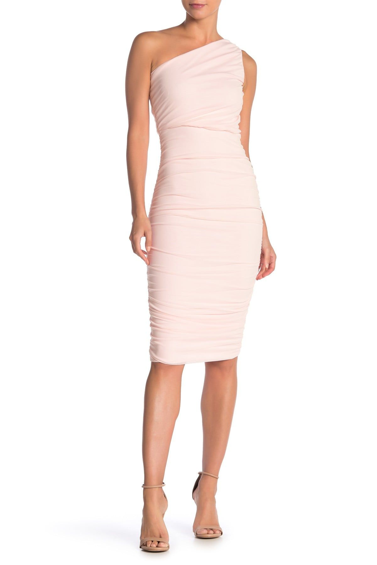 Love By Design Ruched One Shoulder Midi Dress Nordstrom Rack Blush Cocktail Dress One Shoulder Midi Dress Pink Cocktail Dress [ 1800 x 1200 Pixel ]