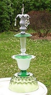 DIY  Garden Totems using thrift and treasured Glass pieces!!!!  Have Fun!